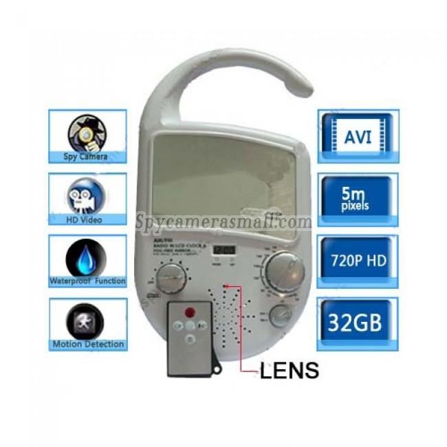 Bathroom Spy Shower Radio Camera - Shower Mirror Radio HD Bathroom Spy Cams Motion Detection DVR 32GB 720P Remote Control ON/OFF